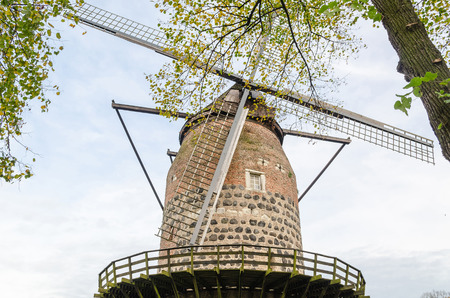 baukunst: Historic and famous windmill in the former customs house of Zons near Dusseldorf am Rhein, Germany.