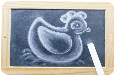 cock duck: Blackboard in wooden frame with a chalk drawing.