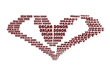 organ donation: Organ donation concept. Red text in heart shape on red background Stock Photo