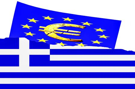 crunches: Illustration, the Greek flag and euro symbol Stock Photo