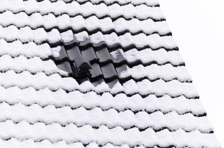 Close-up van een dak door nachtvorst. Stockfoto