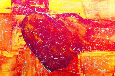 lebensfreude: Handgemalte gro�es rotes Herz mit bunten Hintergrund.