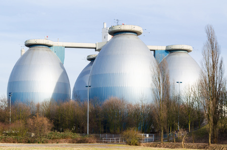 Digestion tank, digestion towers of a wastewater treatment plant are usually ovoid container. In the digestion towers, biogas is generated. Editorial