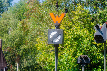 acoustically: Old railway signal. The signals regulate visually, acoustically or electronically rail transport.