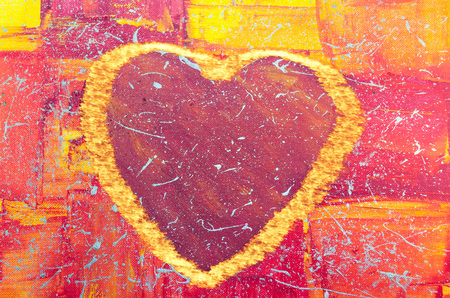 Hand Painted big red heart with colorful background and flames. photo