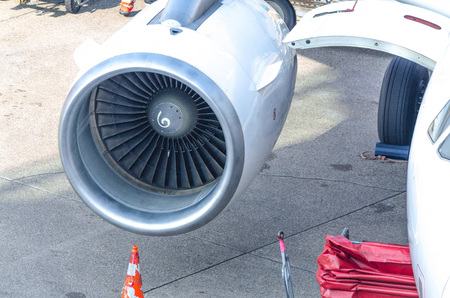turbine engine: Closeup, detail of an aircraft jet engine of a commercial aircraft. Stock Photo