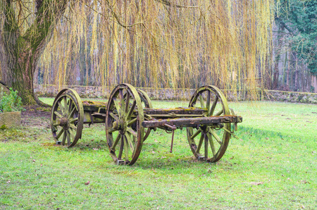 Bogie of an old antique farm wagons, horse cart.