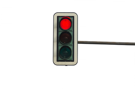 Traffic lights, against white background, with red light.
