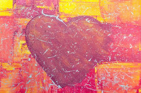 Acrylic painting of our daughter. Hand Painted big red heart with colorful background.