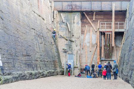 recreational climbing: Duisburg, Nrw, Germany - January 18, 2015: recreational athletes in the climbing of the Landscape Park Duisburg Nord. Editorial