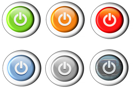 standby: Six different buttons Start icon power button. Stock Photo