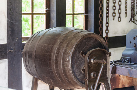 tonne: Close-up, production of wooden barrels in the factory Stock Photo