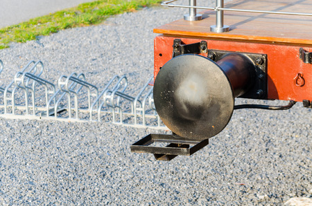 buffers: Vintage old railway buffers, connection, coupling of train and wagon. Stock Photo