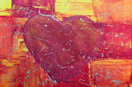 zest: Acrylic painting of our daughter. Hand Painted big red heart with colorful background.