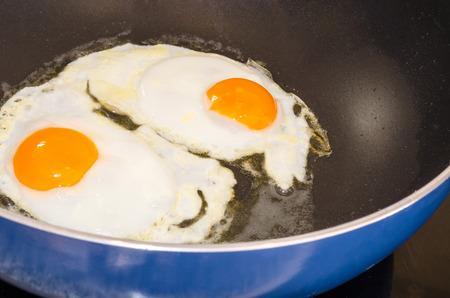 pancetta cubetti: Colazione agricoltori, due uova in un tegame.