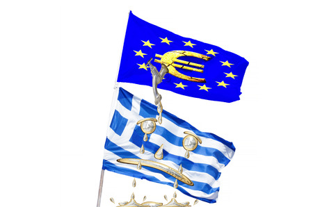 banking problems: Concept, Greek, European financial crisis. Flag Greece, Euro coins and money tap is turned off