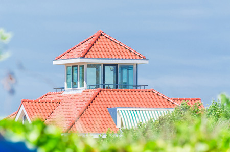 better living: Modern villa with a small tower with sea views Stock Photo