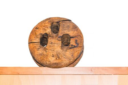 pulley: Old antique wooden pulley with pulley.
