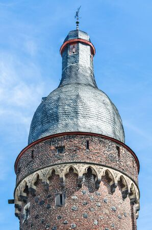 rhein: View spire of the famous old Juddeturm in Zons am Rhein, Germany.