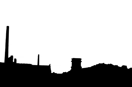 gas fireplace: Silhouette of an old factory building with chimneys against white background.
