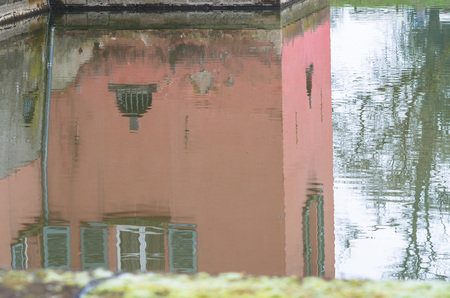 reflection water: Water Reflection of an old moated castle near Dusseldorf Kaiserswerth.