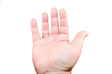흰색 배경에 대해 손의 남성 손바닥을 열었다.