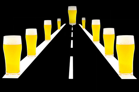Ilustration, computer graphics endless road on the right and left beer glasses. Symbolizes, not drink and drive. Stock Photo
