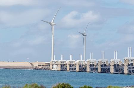 the north sea: Wind turbine in the sea off the Dutch North Sea coast. Stock Photo