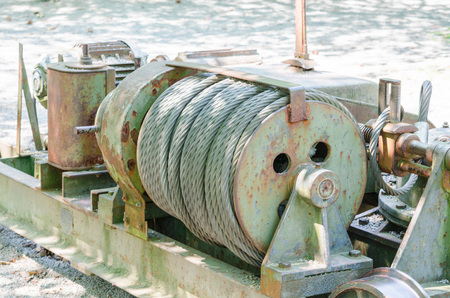 winch: Close up of an old big Cable winch - Industie equipment
