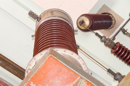 insulators: Large industrial high performance insulators in a power plant.