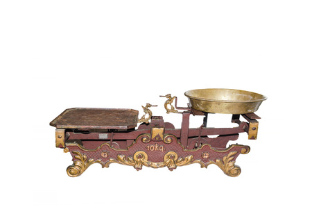 equivalence: Old antique household scale with weighing pans Stock Photo