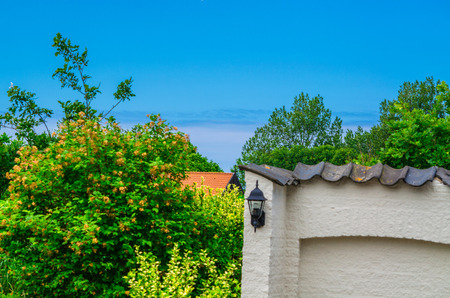 holiday villa: View from the terrace of a holiday villa on the horizon and the sea.