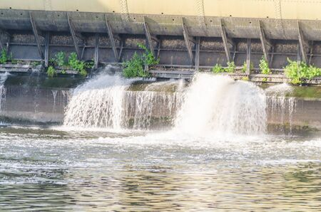 clean energy: Photo of an old hydroelectric power plant produces clean, renewable energy.