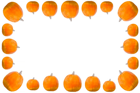cut: Frame with pumpkins against white background. autumn-appearance Stock Photo