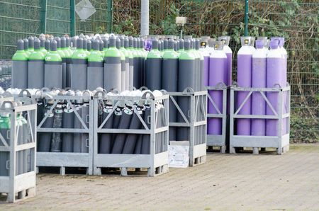 petrol bomb: Hattingen, NRW, Germany - January 4, 2015: View of the storage for gas cylinders from Air Products GmbH. The Air Products supplies industrial gases.