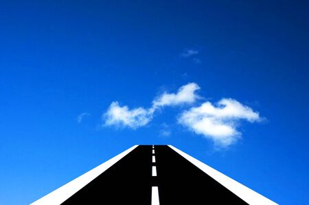endless road: Roads in the sky. Endless road above the clouds. Stock Photo