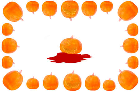 multiple image: Frame with pumpkins against white background. autumn-appearance Stock Photo