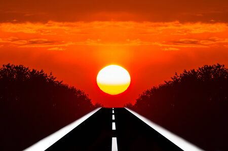endless road: Roads into the sunset. Endless road leads to the bloody moon.