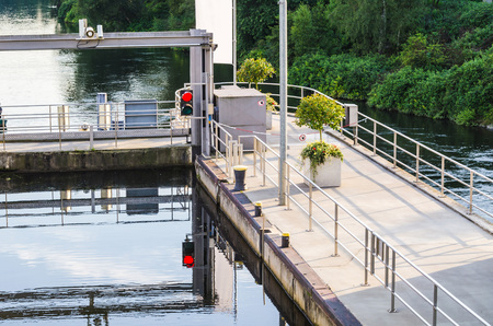 lift gate: View from the top of the sluice at Baldeneysee in Essen Germany.