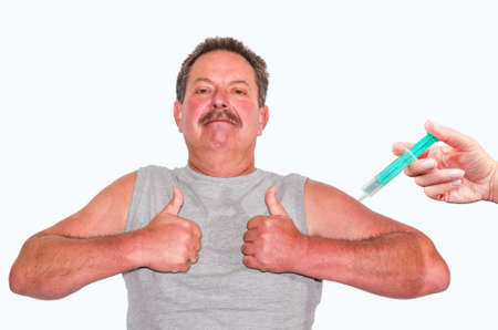 swine flu vaccines: Thumbs up! Man showing two thumbs up. On the right edge of a hand with syringe.