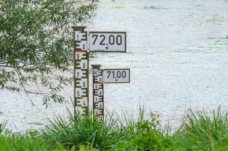 Water level indicator for monitoring the water level. Stock Photo