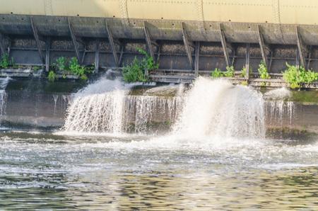 weir: Detail dam by retaining weir Baldeneysee in Essen Werden before renovation.