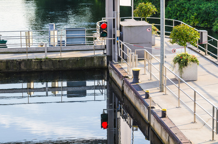 lift lock: View from the top of the sluice at Baldeneysee in Essen Germany.