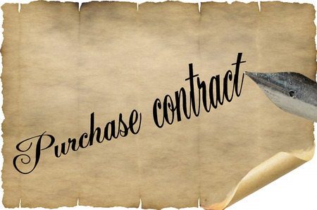 old document: Old document with pen and lettering in English Purchase contrac.