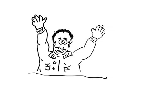 sympathetic: Hand drawing of an advertising character, cartoon character or line drawing. Man against white background.