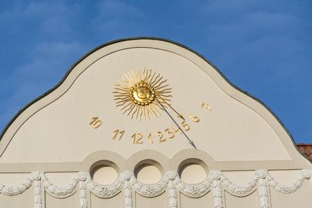 house facade: Sundial clock in Essen-Kettwig on a house facade