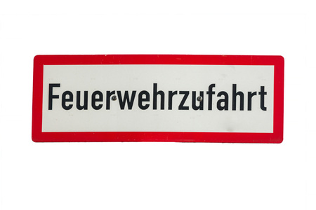fire brigade: Road sign with inscription in German fire brigade access, sign, no parking.