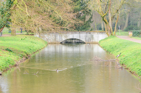 Small concrete bridge over a water jump with ducks.