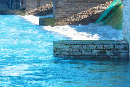 inland waterways: Flooded ship lock during heavy rain in Essen Kettwig in Germany.