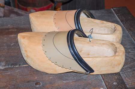 klompen: Pair of traditional old Dutch wooden shoes - Clog. Stock Photo